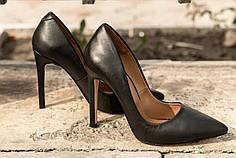 Женские черные туфли лодочки на шпильке , натуральная кожа