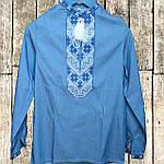 """Подростковая вышиванка для мальчика """"Козачок"""" (джинс) с бело-синей вышивкой, 140 (рост), фото 2"""