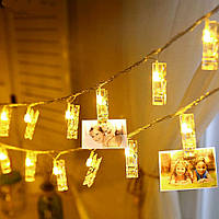 🔥 Гирлянда Прищепки 20 LED лампочек Теплый Белый, 700 см, прозрачный провод, переходник (1698-105)
