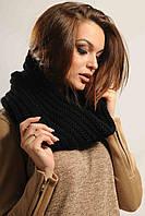 Женский вязаный снуд-шарф (Конверт ri) Черный