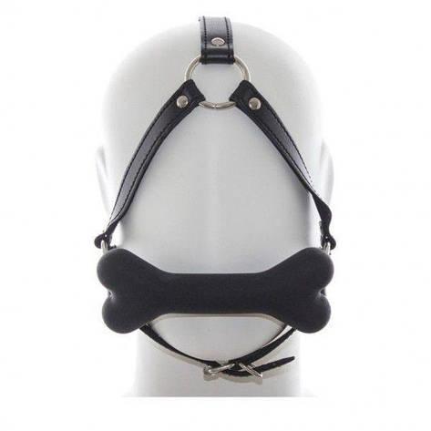 Черный кжаный кляп для рта с мягкой силиконовой подушечкой-косточкой, фото 2