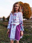 """Дитячий вишитий комплект """"Квіточка"""" з бузковою спідницею, 98 (зростання), фото 4"""