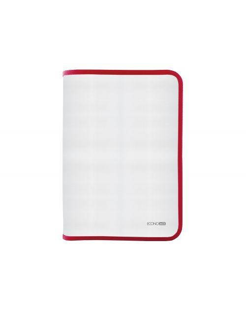 Папка-пенал пластиковая на молнии Economix А4, прозрачная, фактура: ткань, молния красная(E31644-03)