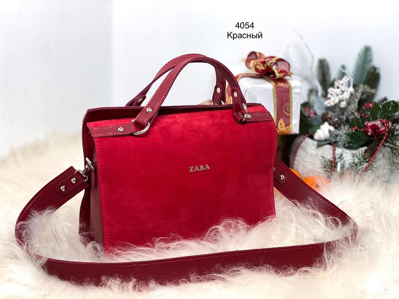 Небольшая красная женская сумка саквояж сумочка деловая классическая чемоданчик замша+кожзам