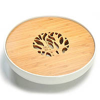 Чабань круглая (керамика/бамбук), белая