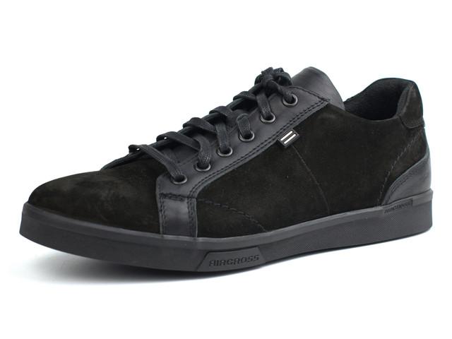 Мужские кроссовки нубук с кожаными вставками черные кеды Rosso Avangard Puran Aircross Black NUB