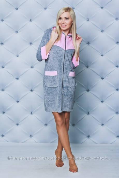 Короткий женский велюровый халат, размеры: 42, 44, 46, цвета - черный, серый