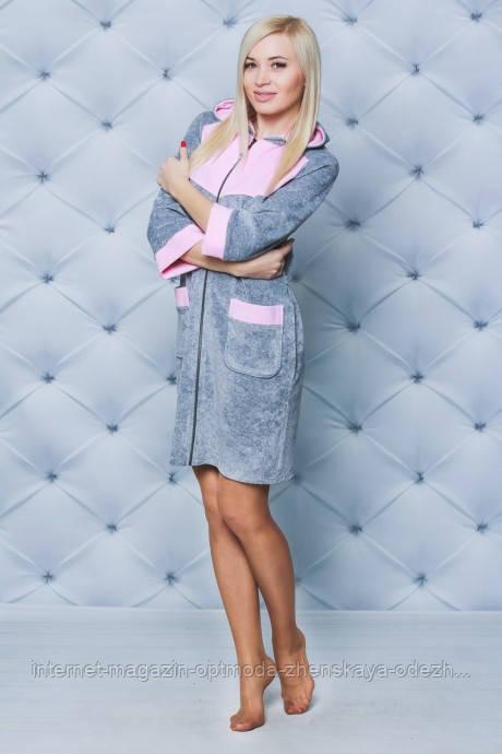 Женский короткий велюровый халат больших размеров, размеры: 48-50, 52-54, 56-58, цвета - черный, серый
