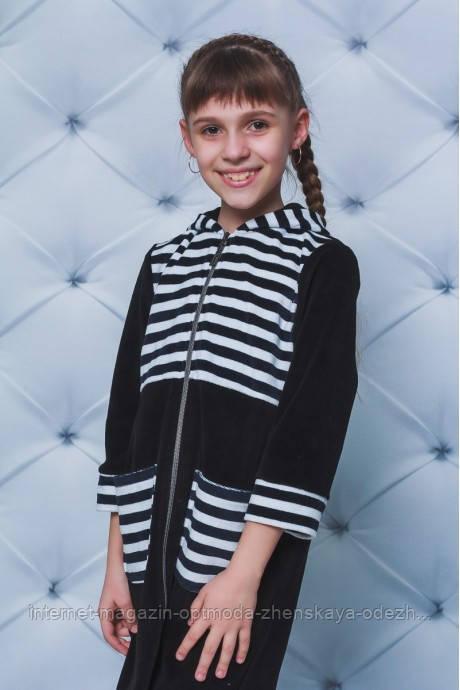 Велюровый халат для девочек, рост 122, 128, 134, цвета - черный, серый