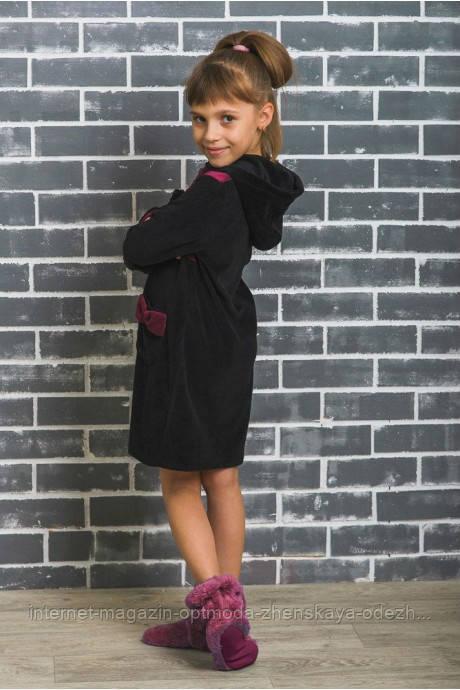 Красивый халат для девочек из велюра, размеры: 128, 134, 140, 146, 152, цвет - черный
