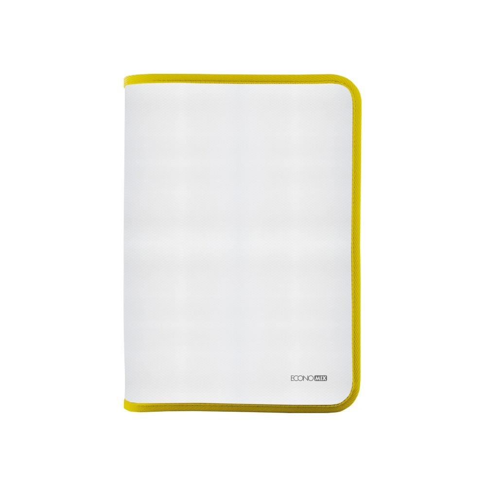 Папка-пенал пластиковая на молнии Economix А4, прозрачная, фактура: ткань, молния желтая(E31644-05)