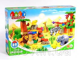 """Конструктор JDLT 5036 (Аналог LEGO DUPLO)""""Зоопарк"""" 69 деталей"""