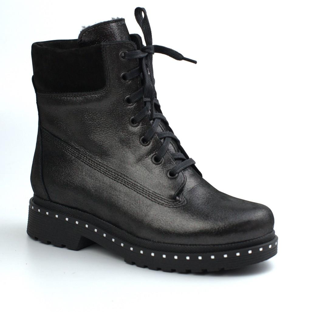 Женские зимние ботинки кожаные на меху теплые на молнии Rosso Avangard Tainted