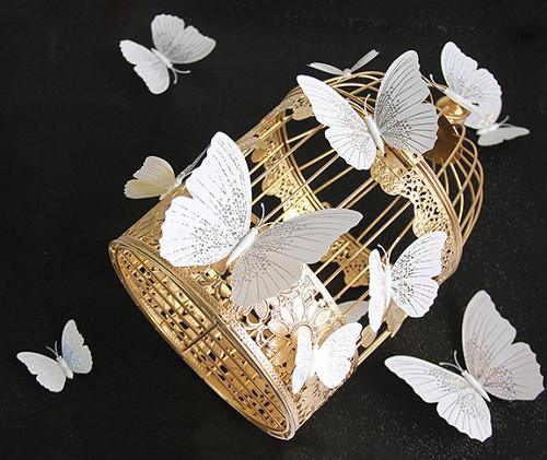 (12 шт) Набор бабочек 3D на магните, Белые с белым рисунком