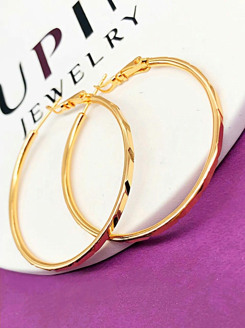 Серьги-кольца 4,5 см позолота Xuping. Медицинское золото