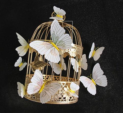 (12 шт) Набір метеликів 3D на магніті, Білі з жовтим малюнком