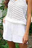 Короткие белые вязаные шорты АРТ-138 1102378225