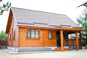 Дом деревянный сборный из бруса с верандой 7,8х9,5 м. Кредитование строительства деревянных домов