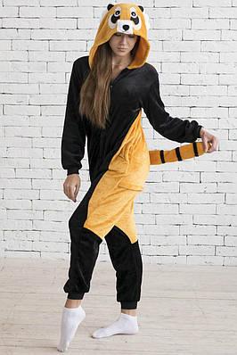 Кигуруми - Енот - Одежда для дома -  Пижама женская, пижама теплая Premium Velsoft