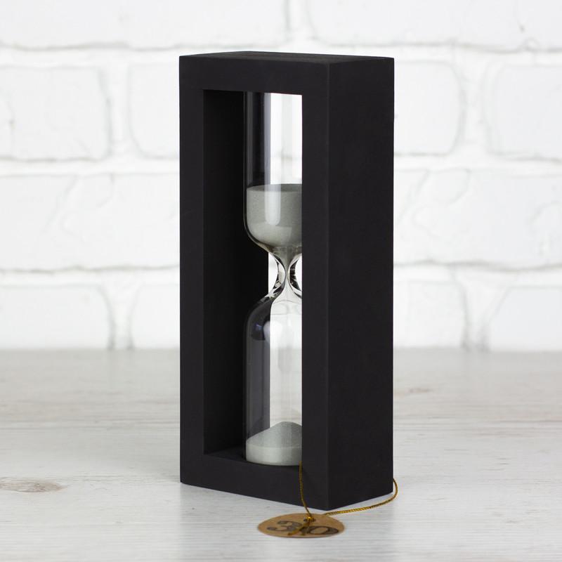 Пісочний годиник дере'яна основа чорна пісок білий на 30 хвилин