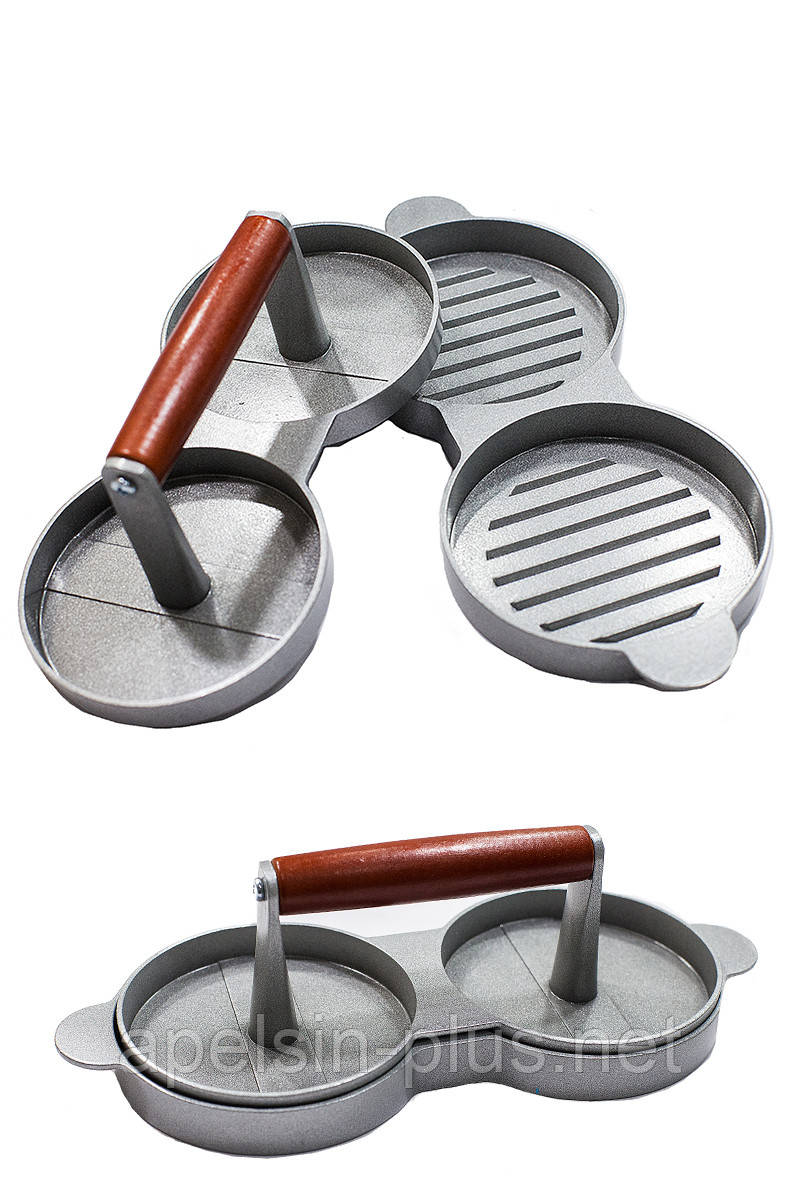Пресс-форма для котлет и бургеров металлическая 11,0 см на 2 ячейки