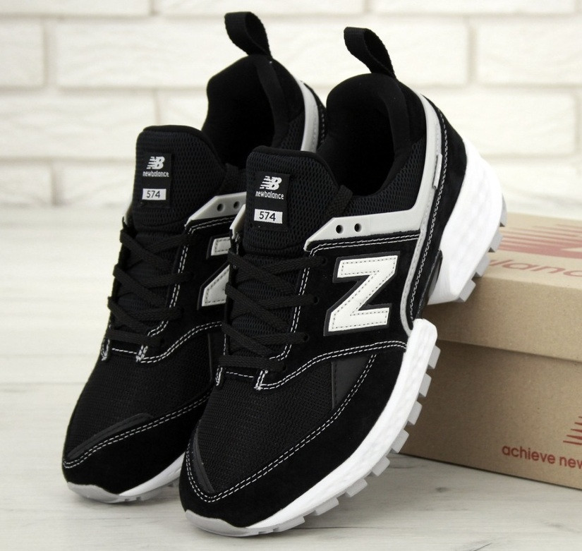 Мужские кроссовки New Balance 574 Sport V2 черные с белым замша. Живое фото. Реплика