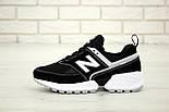 Мужские кроссовки New Balance 574 Sport V2 черные с белым замша. Живое фото. Реплика, фото 3