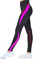 Спортивные лосины черного цвета с  цветными вставками