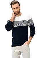 Мужской свитер LC Waikiki / ЛС Вайкики с белым верхом, темно-синим низом и синими полосками на груди