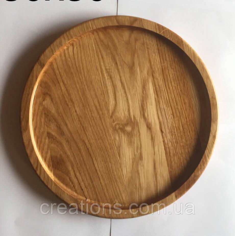 Тарелка деревянная 30 см. для пиццы из черешни, ясеня