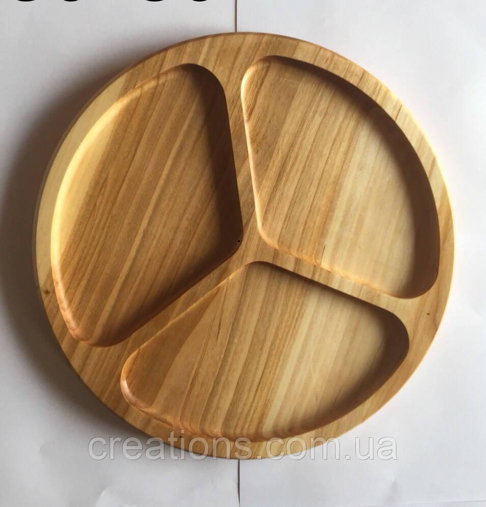 Менажница деревянная 30 см. круглая на 3 деления из черешни, ясеня
