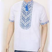 """Мужская вышиванка """"Николай"""" (сине-серая вышивка) с коротким рукавом опт, 39"""