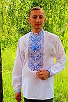 """Мужская вышиванка """"Николай"""" (голубая вышивка) опт, 37"""