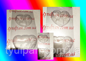 3D Форма пластиковая молд сердце голуби любовь