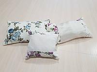 Комплект подушек Розочки синие с вставками, 3шт