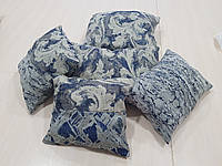 Комплект подушек Серые с темно синим, 5шт