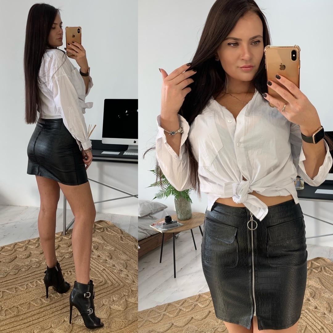Женская стильная кожаная черная юбка