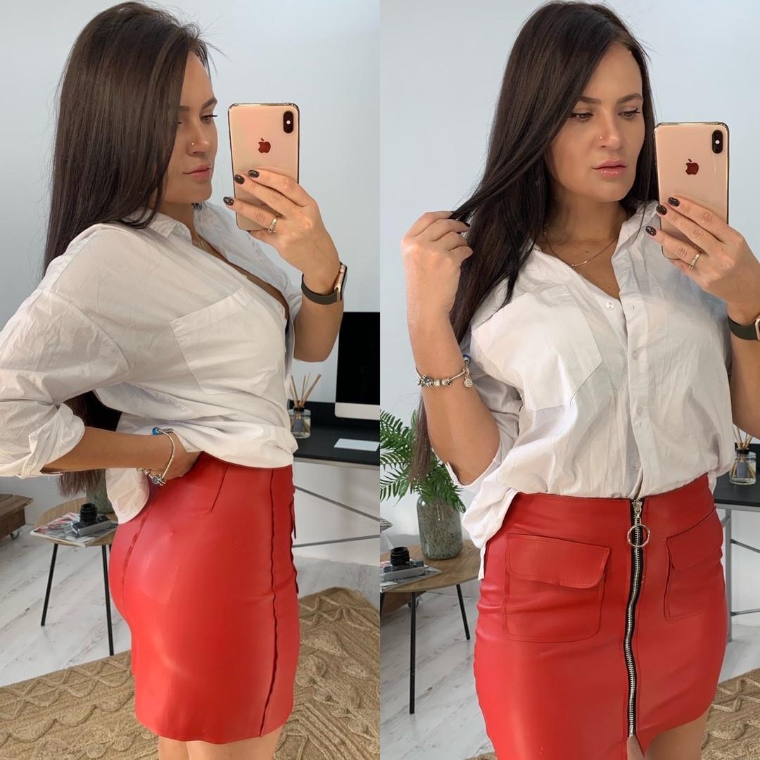 Женская стильная кожаная юбка,красного цвета