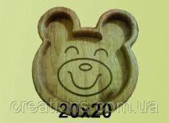 Дитяча дерев'яна тарілка 20х20 см. з черешні, ясена