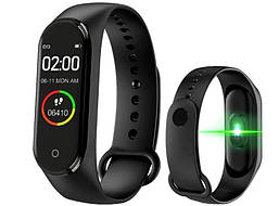 Фитнес трекер браслет Smart Band М4 смарт часы для спорта с тонометром черные - аналог Xiaomi Mi Band 4