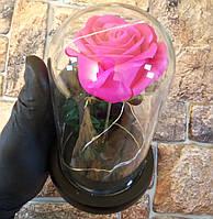 Подарок девушке! РОЗА в стеклянной колбе +Подсветка (ночник) Розовая (настоящие фото!)