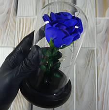 Подарунок дівчині! РОЗА в скляній колбі +Підсвічування (нічник) Синя (справжні фото!), фото 2