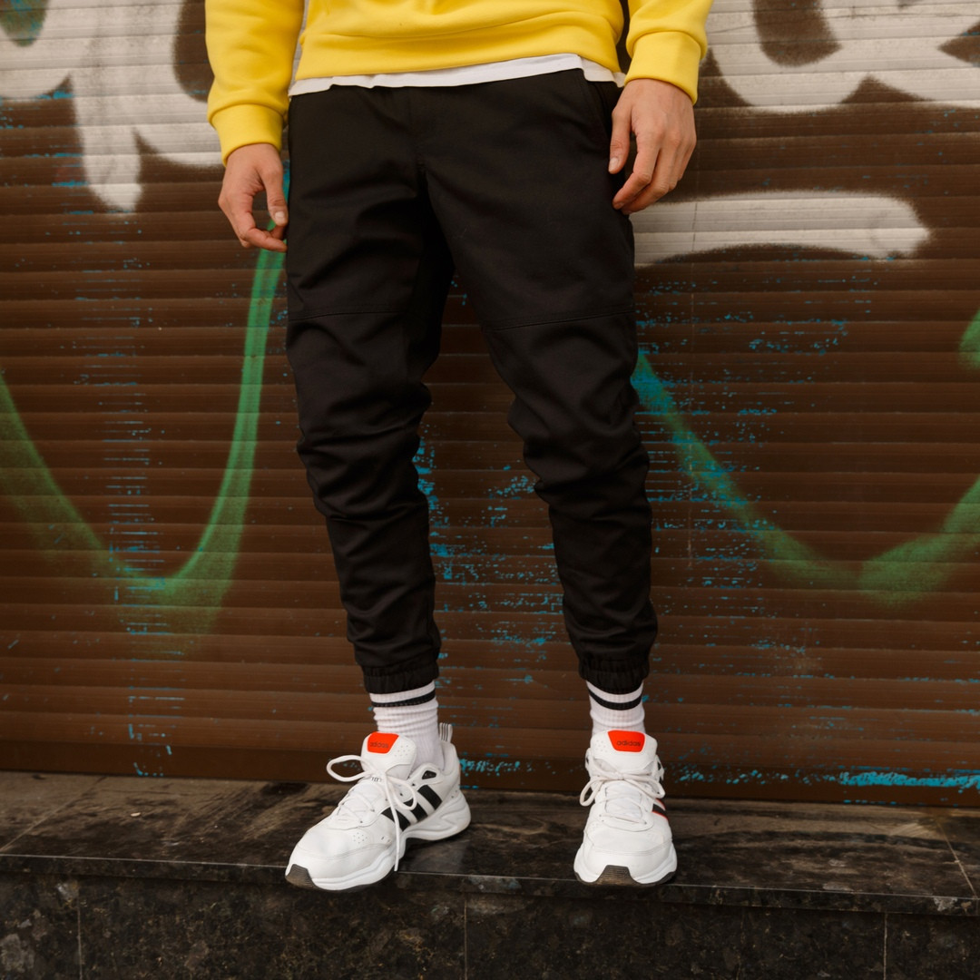 """Очень теплые мужские штаны карго """"Грут"""" с манжетами черные - M, L, XL"""