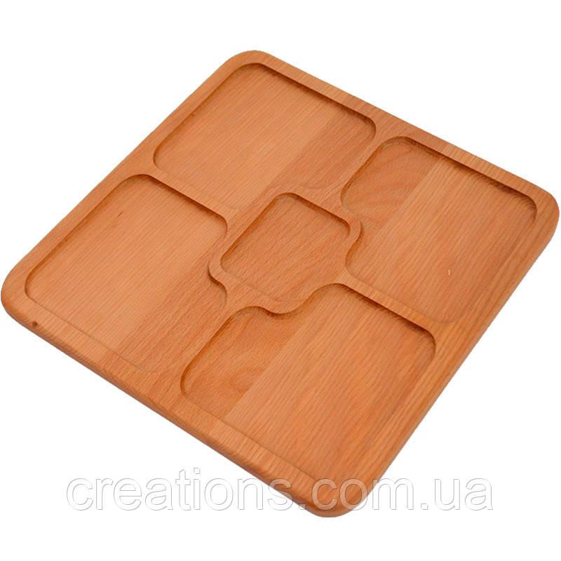 Менажница деревянная 30х30 см. квадратная на 5 секций из черешни, ясеня