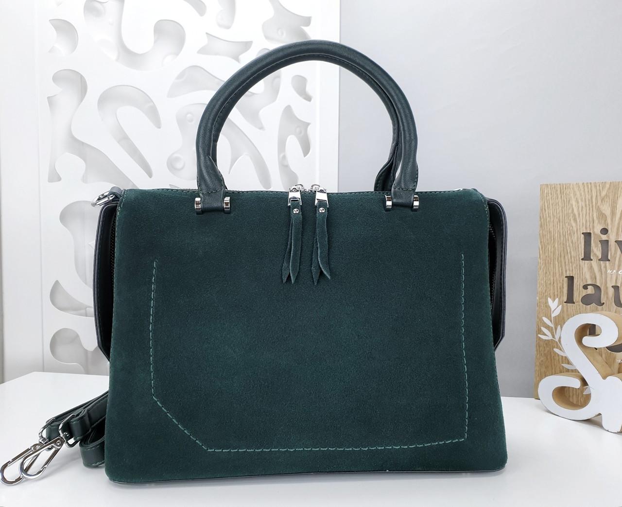 Женская сумка зеленого цвета,эко-кожа+натуральный замш