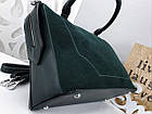 Женская сумка зеленого цвета,эко-кожа+натуральный замш, фото 5