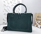 Женская сумка зеленого цвета,эко-кожа+натуральный замш, фото 6
