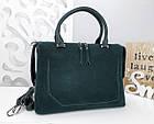 Женская сумка зеленого цвета,эко-кожа+натуральный замш, фото 7