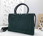 Женская сумка зеленого цвета,эко-кожа+натуральный замш, фото 8