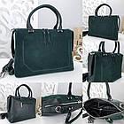 Женская сумка зеленого цвета,эко-кожа+натуральный замш, фото 2